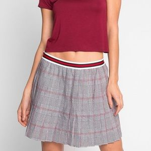 7b8c981d52 Grey Plaid School Uniform Pleated Skirt